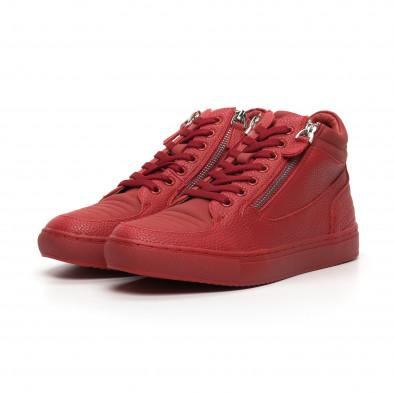 Ανδρικά κόκκινα sneakers με Shagreen design it260919-48 4