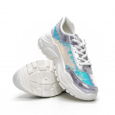 Γυναικεία γκρι Chunky αθλητικά παπούτσια με παγιέτες it240419-60 4