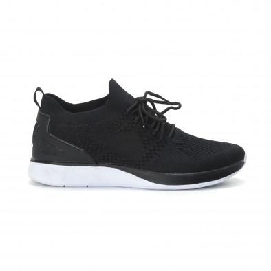 Ανδρικά μαύρα πλεκτά αθλητικά παπούτσια  it190219-2 2