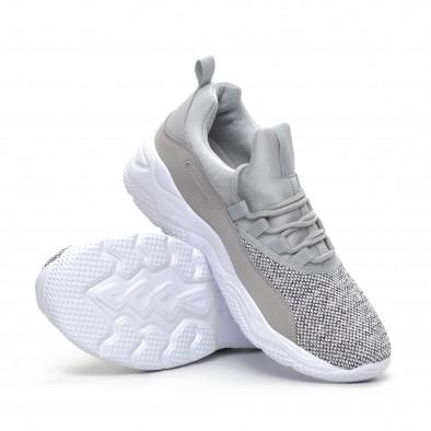 Ανδρικά γκρι μελάνζ αθλητικά παπούτσια ελαφρύ μοντέλο it240419-20 4