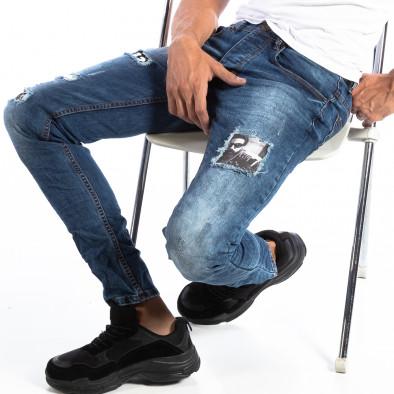 Ανδρικό τζιν Slim Jeans με διακοσμητικά μπαλώματα it250918-15 2