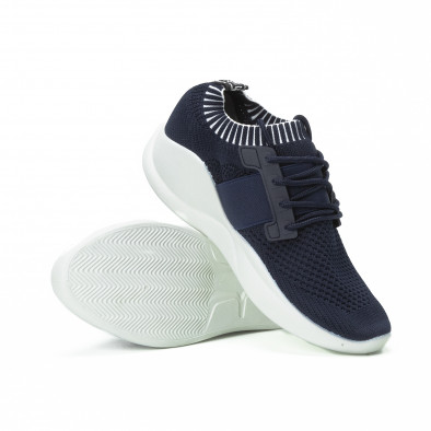 Ανδρικά μπλε αθλητικά παπούτσια με λάστιχο it150818-8 4