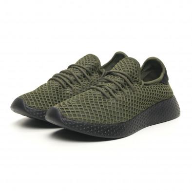 Ανδρικά πράσινα αθλητικά παπούτσια Mesh με μαύρη φτέρνα it251019-1 3