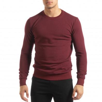 Ανδρική μπορντό βαμβακερή μπλούζα Basic it150419-46 3