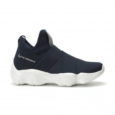 Slip- on ανδρικά μπλε αθλητικά παπούτσια με λάστιχα it250119-10 2