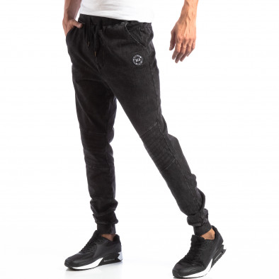 Ανδρικό Biker Jogger σε χρώμα μαύρο denim it250918-43 2