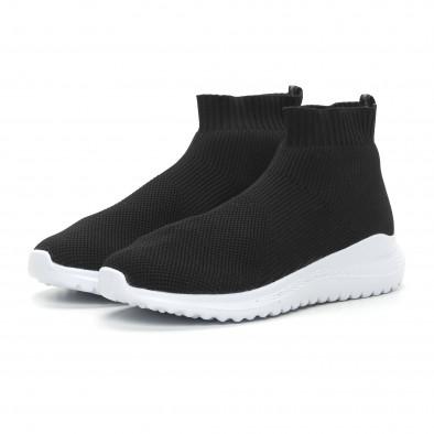 Ανδρικά μαύρα sneakers κάλτσα με τρακτερωτή σόλα it150319-8 3