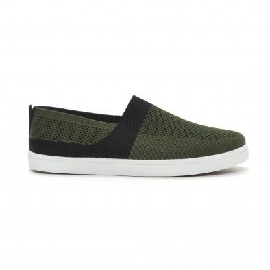 Ανδρικά πράσινα πλεκτά sneakers με μαύρες λεπτομέρειες it150319-19 2