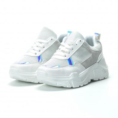 Γυναικεία λευκά sneakers με πλατφόρμα it250119-37 3