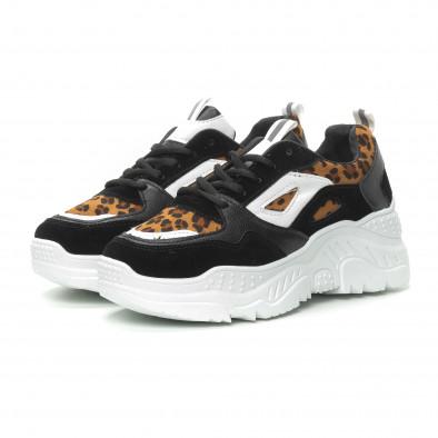 Γυναικεία μαύρα αθλητικά παπούτσια Chunky με λεοπάρ λεπτομέρειες it150319-62 3