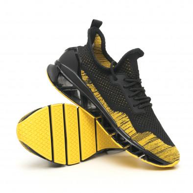 Ανδρικά μαύρα-κίτρινα αθλητικά παπούτσια Knife it251019-23 5
