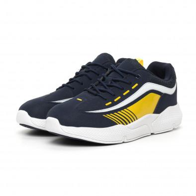 Ανδρικά μπλέ αθλητικά παπούτσια με λεπτομέρειες από λουστρίνι it130819-20 3