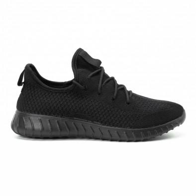 Ανδρικά μαύρα αθλητικά παπούτσια All black ελαφρύ μοντέλο it140918-10 2