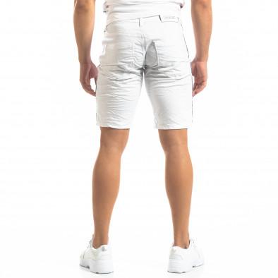 Ανδρική λευκή τζιν βερμούδα με σκισίματα it150419-13 4