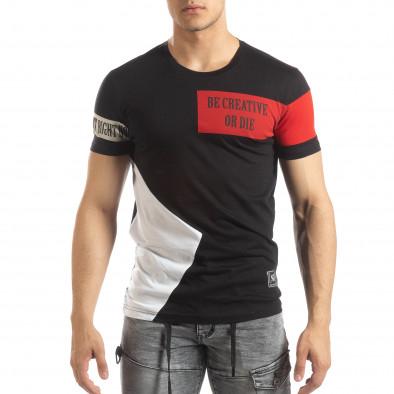 Ανδρική μαύρη κοντομάνικη μπλούζα Be Creative it150419-65 2