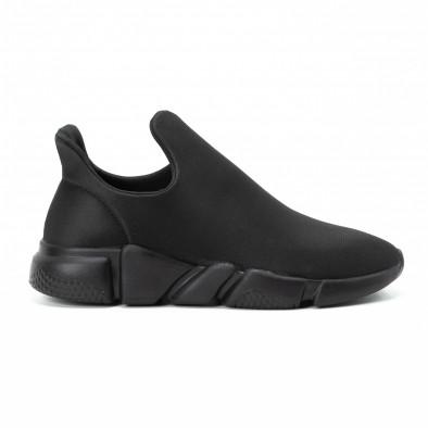 Ανδρικά μαύρα slip-on αθλητικά παπούτσια All black από νεοπρέν it140918-15 2