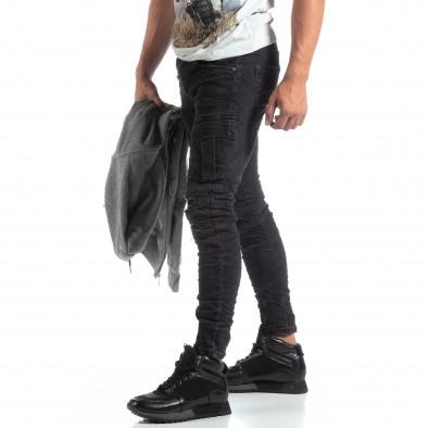 Ανδρικό μαύρο Cargo Jeans σε ροκ στυλ it170819-53 2