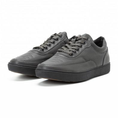 Ανδρικά γκρι sneakers με διακοσμητικές τρύπες it140918-4 3
