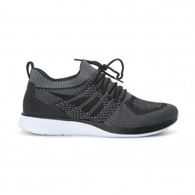 Ανδρικά μαύρα πλεκτά αθλητικά παπούτσια με γκρι λεπτομέρειες it190219-3 2
