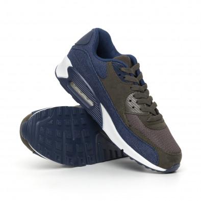 Ανδρικά αθλητικά παπούτσια πράσινο χρώμα και ντένιμ it130819-12 4