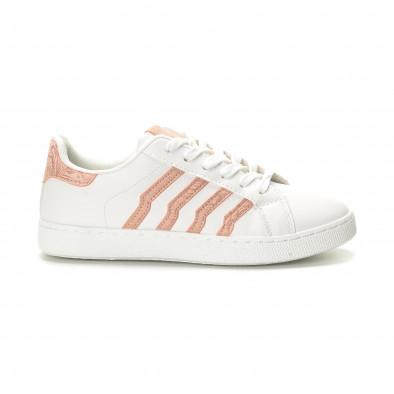Γυναικεία λευκά sneakers με ροζ λεπτομέρειες it190219-14 2