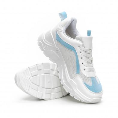 Γυναικεία Chunky αθλητικά παπούτσια σε λευκό και γαλάζιο it240419-45 4