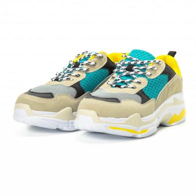 Ανδρικά αθλητικά παπούτσια σε κίτρινο και μπεζ με χοντρή σόλα it221018-40 3