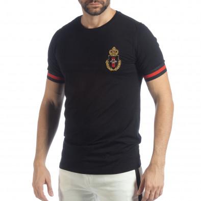 Ανδρική μαύρη κοντομάνικη μπλούζα Heraldic it040219-115 2