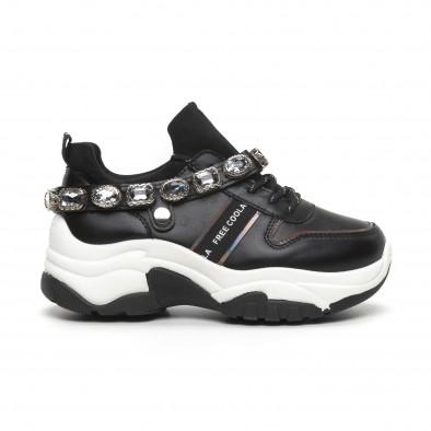 Γυναικεία μαύρα αθλητικά παπούτσια με στρασάκια it260919-62 2