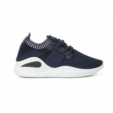 Ανδρικά μπλε αθλητικά παπούτσια με λάστιχο it150818-8 2