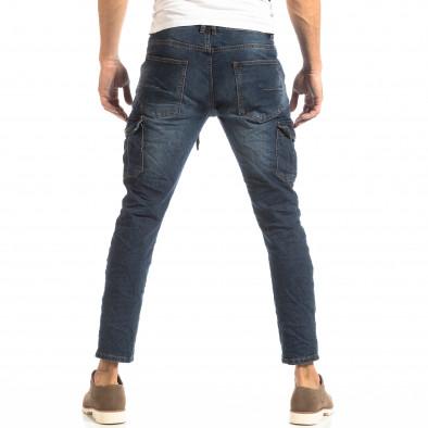 Ανδρικό μπλε τζιν Cargo Jeans σε ροκ στυλ it261018-11 4