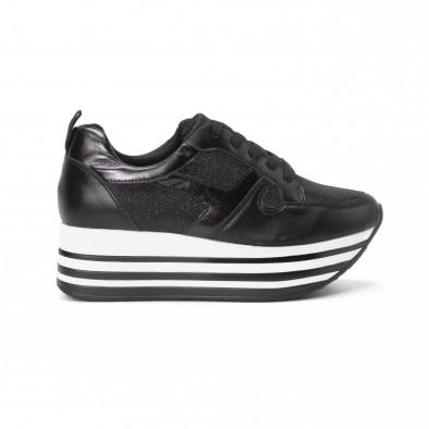 Γυναικεία μαύρα sneakers με χρυσόσκονη και πλατφόρμα it150818-29 2