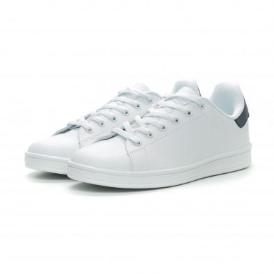 Ανδρικά Basic λευκά sneakers με μπλε λεπτομέρεια it150319-12 3
