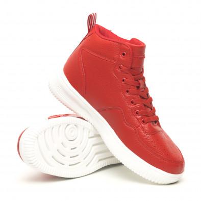 Ανδρικά ψηλά κόκκινα sneakers με Shagreen design it251019-15 4