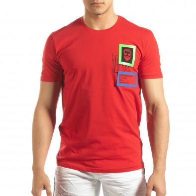 Ανδρική κόκκινη κοντομάνικη μπλούζα με διακοσμητικά απλικέ it150419-70 3