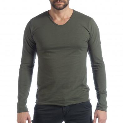 Ανδρική χακί μπλούζα V-neck it040219-84 2