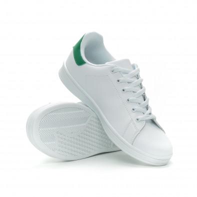 Ανδρικά Basic λευκά sneakers με πράσινη λεπτομέρεια it150319-11 4