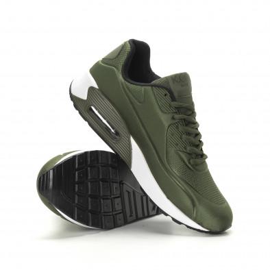 Ανδρικά military πράσινα αθλητικά παπούτσια με αερόσολα it190219-8 4