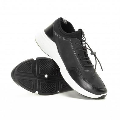 Ανδρικά μαύρα αθλητικά παπούτσια από συνδυασμό υφασμάτων it221018-34 4