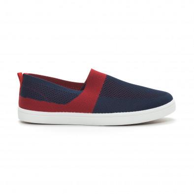 Ανδρικά μπλε πλεκτά sneakers με κόκκινες λεπτομέρειες it150319-17 2