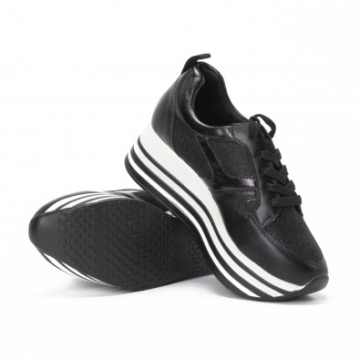 Γυναικεία μαύρα sneakers με χρυσόσκονη και πλατφόρμα it150818-29 4