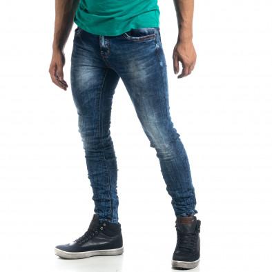 Washed ανδρικό μπλε τζιν τσαλακωμένο μοντέλο Slim fit it041019-35 2