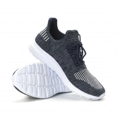 Ανδρικά μπλε μελάνζ αθλητικά παπούτσια με λευκές λεπτομέρειες it190219-7 4
