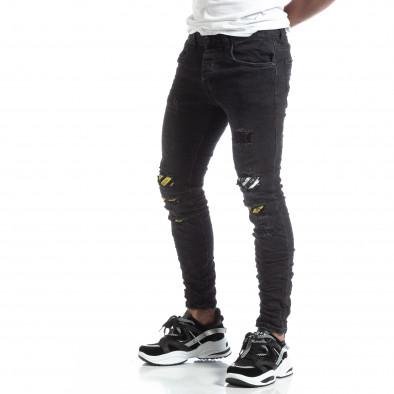 Slim fit ανδρικό μαύρο τζιν με διακοσμήσεις  it170819-50 2