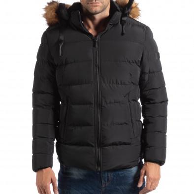 Ανδρικό μαύρο χειμωνιάτικο μπουφάν με επένδυση γούνα it250918-76 3