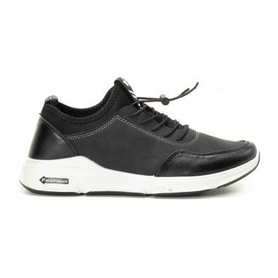 Ανδρικά μαύρα αθλητικά παπούτσια από συνδυασμό υφασμάτων it221018-34 2