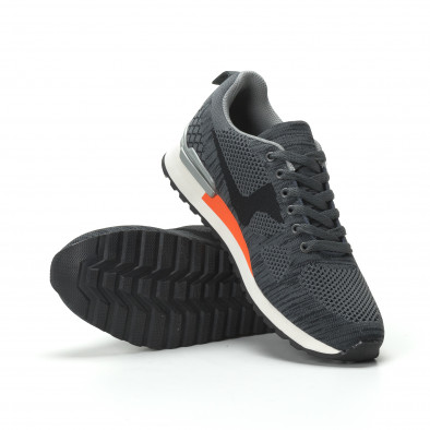 Ανδρικά γκρι αθλητικά πλεκτά παπούτσια με πορτοκαλί λεπτομέρεια it250119-7 4