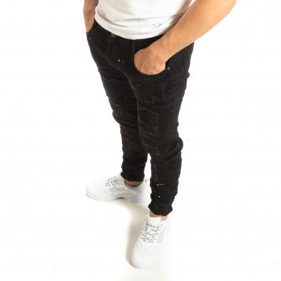Ανδρικό μαύρο τζιν με διακοσμητικές πιτσιλιές μπογιάς it090519-3 3