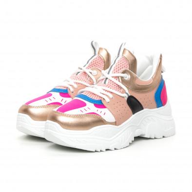 Γυναικεία Chunky αθλητικά παπούτσια ροζ και μπλέ it130819-65 3