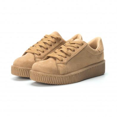 Γυναικεία camel sneakers από οικολογικό σουέτ it250119-56 4